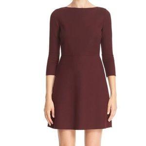 Theory Burgundy Fit-Flare Sheath Wool Dress size 2